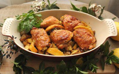 Pollo al horno con patatas asadas