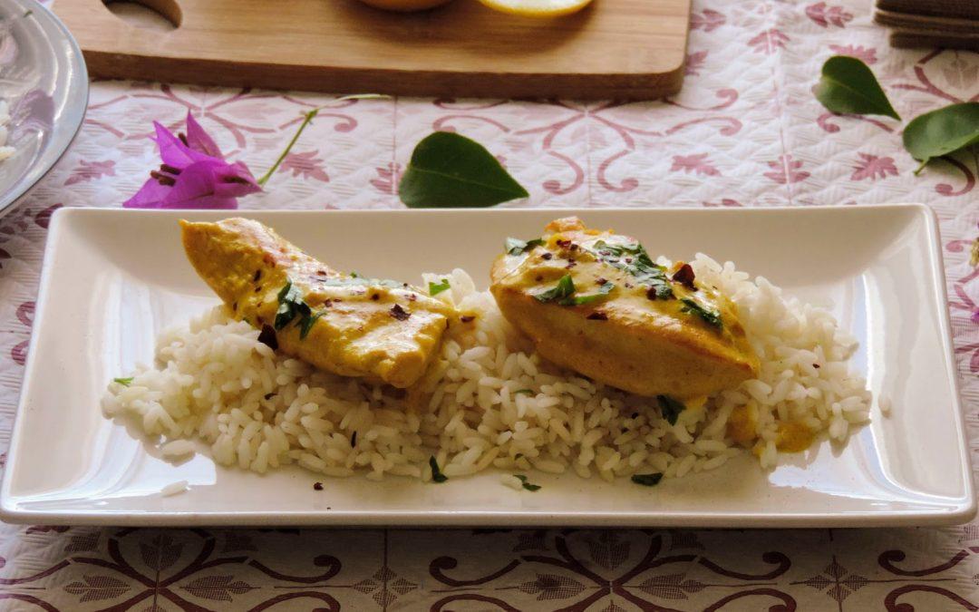 Pollo al curry Madrás, receta exprés