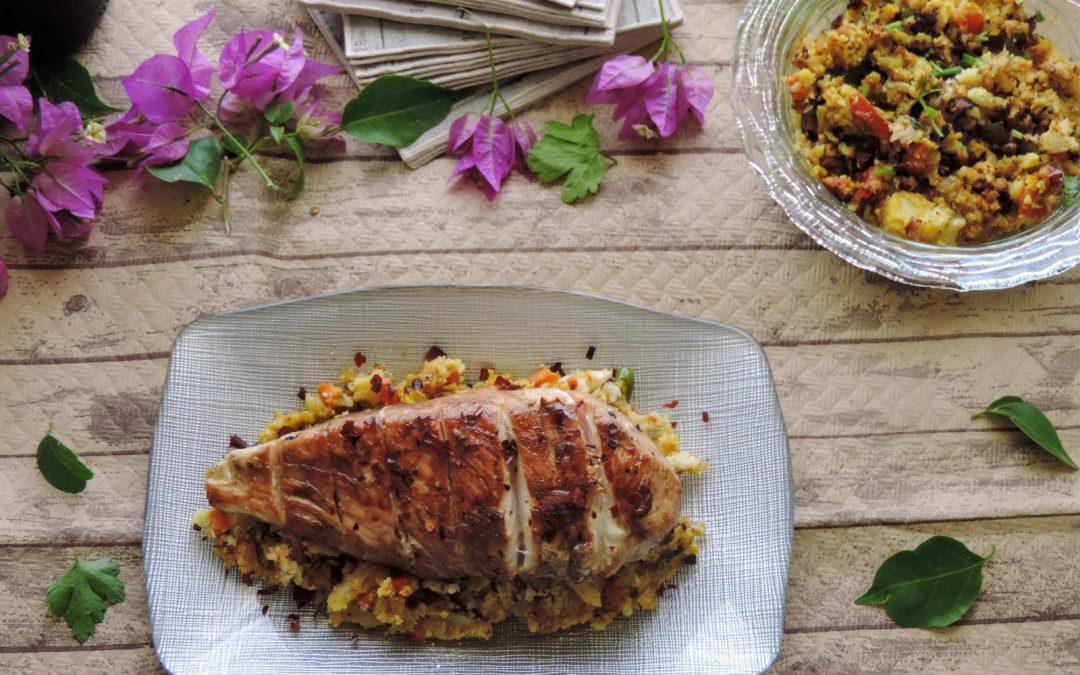 Cous Cous de coliflor con pollo y verduras al curry