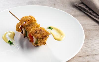 Receta: Brocheta de pollo con pimientos