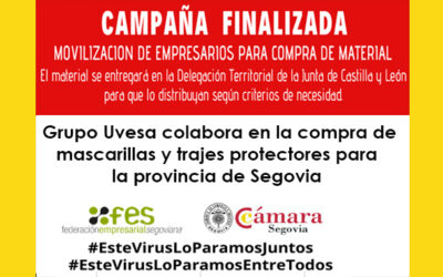 Grupo Uvesa colabora en la compra de mascarillas y trajes protectores para el sistema sociosanitario de la provincia de Segovia