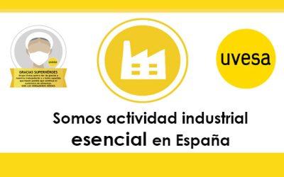 El trabajo que se realiza en Grupo Uvesa es una actividad esencial en España
