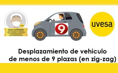 Modificación en Desplazamiento de vehículo de menos 9 plazas (más de 1 persona y en zig-zag)