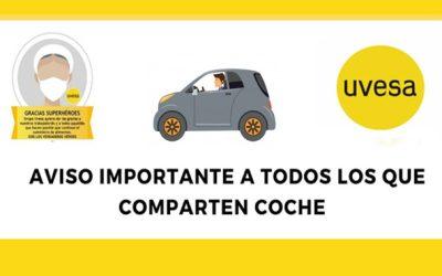 Aviso importante: A todos los que comparten coche en esta situación de estado de alarma