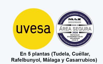 La totalidad de la plantas del Grupo Uvesa cuenta con el distintivo área segura Covid-19
